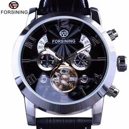 мужские наручные часы Скидка Forsining 5 Руки Tourbillion Мода Волна Циферблат Дизайн Многофункциональный Дисплей Мужские Часы Лучший Бренд Класса Люкс Автоматические Часы Часы J190614
