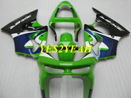 kawasaki ninja 636 kits de corpo Desconto Kit de carenagem da motocicleta para KAWASAKI Ninja ZX6R 636 98 99 ZX 6R 1998 1999 ABS verde azul preto Carenagens Carenagem Carroçaria + Presentes KP09