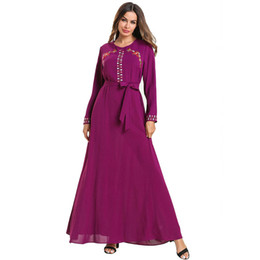 2019 Mode Femmes Musulman Abaya Robe O Cou À Manches Longues Pourpre Broderie Fleur Saoudien Arabe Caftan Marocain Kimono Maxi ? partir de fabricateur