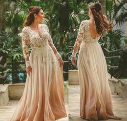 brautkleid zwei eins Rabatt Boho Long Sleeves Brautkleider 2020 A Linie Appliques Backless Beach Country Garden Formal Braut Brautkleider nach Maß