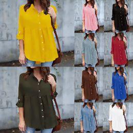 b27a478862 2019 New Summer 8Colors Womens Solid Chiffon Shirts Long Sleeve Loose  Blouse Lady Fashion Casual Shirt Chiffon Tops Shirt