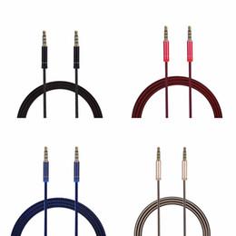 conectores de cable movil Rebajas 2019 Aleación de zinc Cable trenzado Cable auxiliar Conector de metal ininterrumpido Cable de audio para automóvil 1M 3FT 3.5 MM Macho a macho Universal Para teléfonos móviles Ablet PC ipod