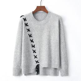 Кружевные шорты онлайн-2018 осень зима новый корейский Повседневный свитер Женщины Узелок Кроссовер Свитера Мода Пуловер Топ Асимметричная Hem Sueter Mujer Y190929
