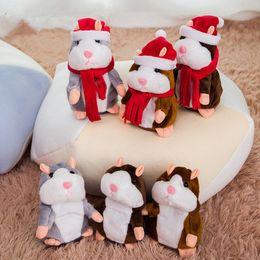 Ratón panda online-Hablar Hámster Pet Mouse de juguete de felpa linda Speak regalos Hablar del expediente del sonido del hámster de juguetes educativos para niños de Navidad 15 cm EEA843