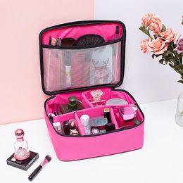 grandes maquiagem zíperes casos Desconto Viagem de Grande Capacidade impermeáveis Cosméticos armazenamento caso Zipper Makeup Bag Oxford pano portátil Tote Organizer