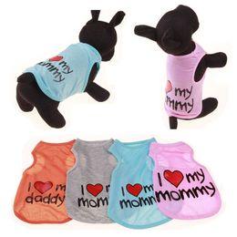 Cane arancione t-shirt online-Gilet a forma di cuore Gilet per cani Vestiti per animali I Love My Mommy Maglietta di cotone Grigio Arancione Asciugatura rapida 4 3hj C1