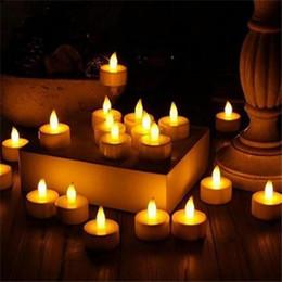 Luzes de chá sem chama para o casamento on-line-Luzes LED Tea Sem Chama Votive Tealights Velas Cintilação Lâmpada luz Pequeno Elétrico Falso Chá Vela Realista para Presente de Mesa de Casamento ST127