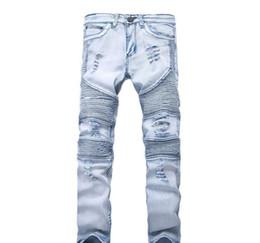 jeans mens 33 Sconti Nuovo progettista Mens jeans skinny con elastico sottile del denim di modo Bici di lusso I jeans dei pantaloni degli uomini strappati Hole Jean per gli uomini Plus Size 28-38