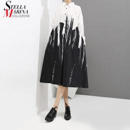 2019 las mujeres usan vestido suelto Nuevo 2019 Mujeres Pintura Estilo Suelta Negro Camisa Vestido de manga larga de impresión Mujer Plus Size Party Club Wear Midi Casual Dress 3400 las mujeres usan vestido suelto baratos