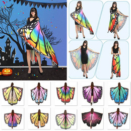 xales impressão borboleta Desconto Trajes de Halloween Butterfly Wings Xaile Mulheres Fada Lenços Partido acessórios decorativos Enrole Printing Xaile Lenços Suprimentos DHL WX9-1658