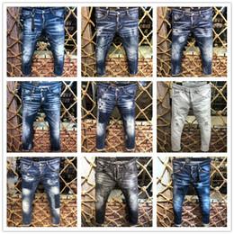 2019 dunkle wäsche zerrissene dünne jeans 2019 neue berühmte italienische Marke DS Fabrik Slim Fit Patchwork Denim zerrissene Reißverschluss Biker Röhrenjeans Loch für Männer Baumwolle Männer Hose Tasche