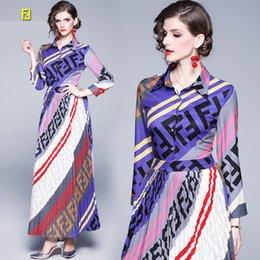 2019 tissu vintage à imprimé floral Taille Lettre Concepteurs FF Asian Fashion Femmes Casual Dresse # 002 FD Europe Londres luxe dame Femme Fête de rue Robes FEN GG Masque