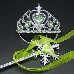 plastic hair crown Promo Codes - Crown Hair Sticks Snowflake Magic Wand sets Halloween Princess Queen Magic stick+crown tiara headband set part props baby accessories M371