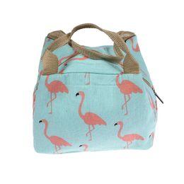 saco animal do almoço dos miúdos Desconto Flamingo Lunch Bags Mulheres Portátil Funcional Canvas Animal Isolado Piquenique Térmico Crianças Cooler Lunch Box Tote Tote