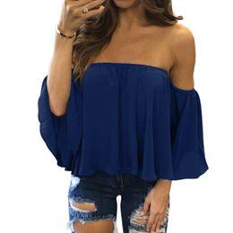 Canada Femmes en mousseline de soie d'été Off épaule Blouses solides manches courtes volants Tops Sexy Boho Casual T-shirts Offre