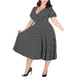 2019 Plus La Taille Femmes Polka Dot D'été Col En V Grande Taille Dame Mi Taille Décontractée Maxi Dress 5XL Grande Taille ? partir de fabricateur