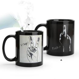 Os presentes engraçados gesticulam canecas em mudança da temperatura, canecas em mudança do camaleão da cor Calor - caneca sensível do leite do chá do café do copo do calor de