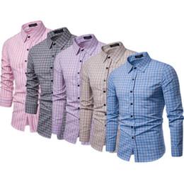 eleganti nuove camicie uomo camicie Sconti 2019 Brand New Men Plaid Luxury Stylish Slim Fit manica lunga casual formale camicie maschili set di abbigliamento maschile