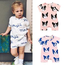 Hund sommer overalls online-Babyspielanzug Ins 2019 neugeborene Säuglingskarikaturhundeanzugkinder des Sommers einteiliges onesiesoverallspielanzug Baby-Säuglingsjungen-Entwerfer-Kleidung