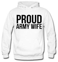 Armee neuheit geschenke online-STOLZE ARMEEFRAU Unisex Hoodie Geschenk Neuheit Witz Jumper Top
