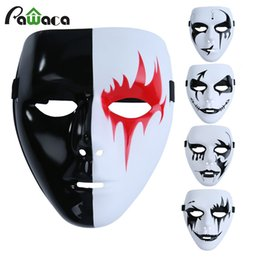 2019 mascarilla blanca de miedo Scary White Face Mask Party Ball Mask Ghost Hip-hop Cool Face Full Masquerade Cosplay de moda para Halloween Holiday mascarilla blanca de miedo baratos