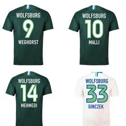 3ff97d5bc9e40 18 19 camiseta de fútbol de Wolfsburg MALLI KALUS MEHMEDI WEGHORST GINCZEK  camisetas de fútbol hogar lejos de fútbol camisetas personalizadas uniformes  de ...