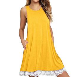 8aa87d3d86 Casual Women Lace Splice Dress O Neck Sleeveless Solid Color Tank Dress  Pocket Asymmetric Summer Mini Dress 2019 Vestidos Festa
