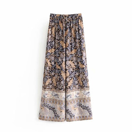 Старинные штаны для печати онлайн-2019 Women vintage position floral print wide leg pants elastic waist bow tie long Trousers Leisure pleated loose Pants P232