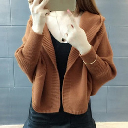 b13c737c80 2019 Winter Warm Knitted Cardigans Sweater Women Women Batwing Sleeve Short  Cardigan Casual Loose Hooded Sweaters Fashion Coat