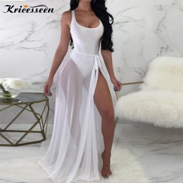 mesh bodysuits women Coupons - Kricesseen Sexy Two Pieces See Through Beach Sets Fashion Womens Soild Bodysuits With Sheer Mesh Cover Ups Chiffon Skirt Suits