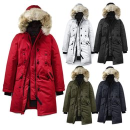 2020 Canada Real Fur Gooses Kragen Parka Frauen Winter Daunenjacke Winter Jacken Windjacke dicken Schnee Wear lange Mantel Dame Clothing weiblich
