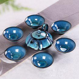 cerámica antigua Rebajas 7 piezas de cerámica azul Fambe Glaze KongFu juego de té JianZhan Ancient Temmoku Teaware con 1 tetera 6 tazas de té Artesanía china