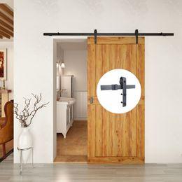 Portas de estilo country on-line-Jogo de madeira do hardware da porta deslizante do celeiro antigo do país do aço carbono do estilo de 4.9FT / 6FT / 6.6FT