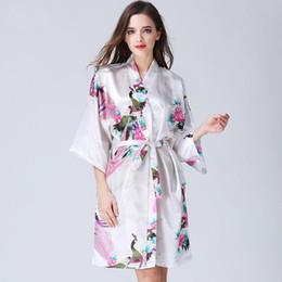 Wholesale 14 Renkler Ev Giyim Seksi kadın Kimono Bornoz Pijama Baskı Çiçek V Yaka Gevşek Kollu Kimono Pijama Ile Kemer DH0669