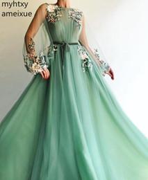 Hot Greed Nueva llegada Vestido de noche de súper hada de manga larga Encaje Kaftan Vestidos de fiesta de graduación Vestido árabe de Dubai Robe Longue Soiree desde fabricantes