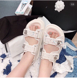 Sandalen dicke sohlen online-2019 new summer non-slip thick-soled sandals versatile color woven material Velcro open toe casual women's sandals