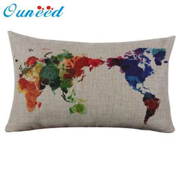 Ouneed Linho de Algodão Mapa Do Mundo Fronha Retro Decorativa Fronha de Longa Capa de 30 cm * 50 cm de Presente 1 pcs Gota de Fornecedores de handmade travesseiro desenhos