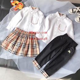 Mädchenrock für jungen online-Jungen Mädchen zweiteiliges Set Taschendruck Outfits Langarm-Top + Gitter Druck Shorts Rock 2er Set Boutique Kinder Kleidung Sets B-3