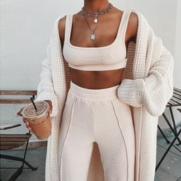 2021 weiße hose top hose set Tacksuit Frauen 2 Stück Set Sleeveless White Ripped Zweiteilige Outfits Crop Top Lange Hose Plus Größe Casual Matching Sets