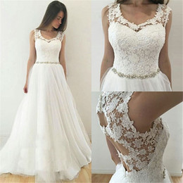 aline dresses long sleeves Promo Codes - Aline Lace Wedding Dresses Scoop Neck With Beads Plus Size Hollow Back Wedding Bridal Dress Custom Made