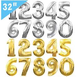 32 pollici elio mongolfiera numero lettera a forma di oro argento gonfiabile ballons compleanno decorazione di cerimonia nuziale festa evento forniture OOA2647 da