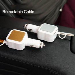 carregador de carro 4.8a Desconto Carregador de carro para iphone 6 6 s plus adaptador 4.8a micro usb cabo retrátil dual usb para iphone 7 5s 8 fio para samsung android carregador de telefone