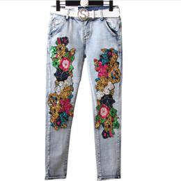 i jeans colorati blu Sconti taglie forti 25-31! 2019 Spring Donna Jeans Donna New Fashions Paillettes Jeans a matita skinny azzurri