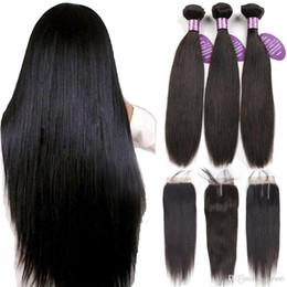 Перуанские пучки волос с закрытием Non Remy Weft 100% человеческие волосы 3 пучка Прямые пучки волос с закрытием от