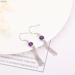 bijoux de pierre gemme fabricant en gros de mode à la mode 925 sterling argent sterling violet améthys cristal naturel boucles d'oreilles femmes ? partir de fabricateur