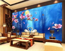 Mural do lago on-line-Personalizado 3D Foto Papel De Parede Mural Sala de estar Sofá TV Mural Cenário Swan Lake Sonho Orquídea Azul Imagem Papel De Parede Mural Etiqueta Home Decor