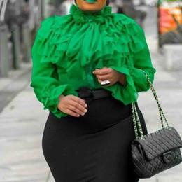 Camicette semplici online-Falbala Camicia a maniche lunghe standard tinta unita Maniche con volant verdi Estate Elegante Camicette da donna Camicette 2019 Camicie Donna Y190822