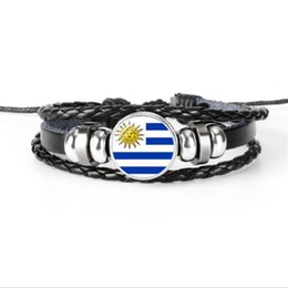 uruguay world cup Coupons - Hot Sale Uruguay National Flag World Cup Football Fan Time Gem Glass Cabochon Button Bracelets Genuine Leather Rope Beaded Women Men Jewelry