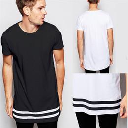 2019 Fashion T-Shirt da uomo T-Shirt lunga Abbigliamento da uomo Curved Hem T-Shirt da donna di linea Hip-Hop City Blank Camicia bianca S-2XL all'ingrosso da