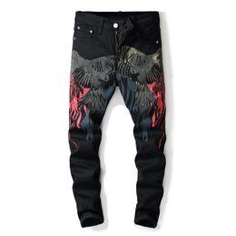 Preço da calça jeans on-line-Atacado menor preço dos homens boate calça jeans impressão 2019 dos homens de luxo magro calça casual dos homens calça jeans calça Frete grátis 5611